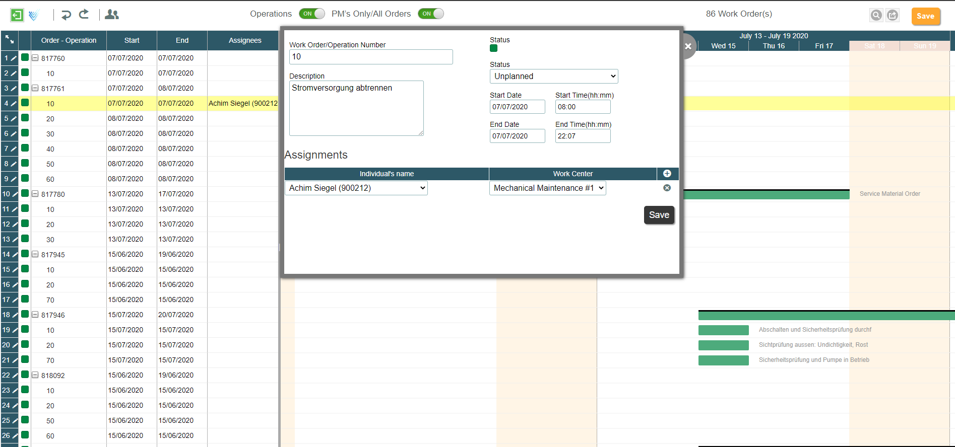Planning and Scheduling app Screen 1